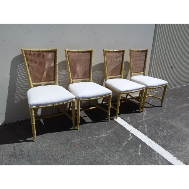 1960s Set of Four Mid Century Modern Faux Bamboo Side Chairs For Sale - Image 5 of 10