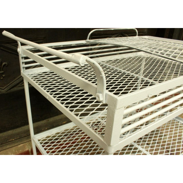 1940s Vintage Wrought Iron Patio Bar Cart For Sale In Raleigh - Image 6 of 10