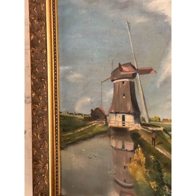 Blue Antique Continental Impressionist Oil Painting For Sale - Image 8 of 13