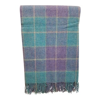 Wool Throw Aqua Blue, Yellow and Purple Stripes and Squares - Made in England For Sale
