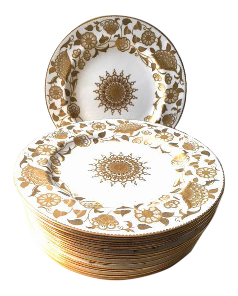 sc 1 st  Chairish & Tiffany Gold u0026 White Dinner Plates - Set of 12 | Chairish