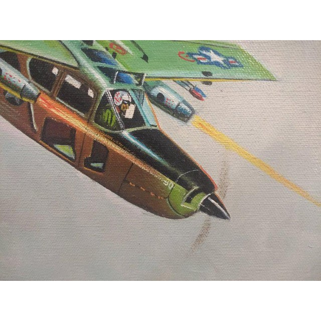 1960s Vintage Cessna Skymaster Air Force Airplane Original Oil Painting