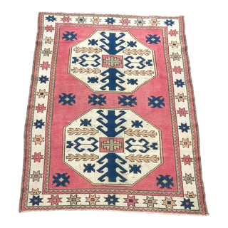 Vintage Aztec Turkish Handmade Decorative Wool Rug For Sale