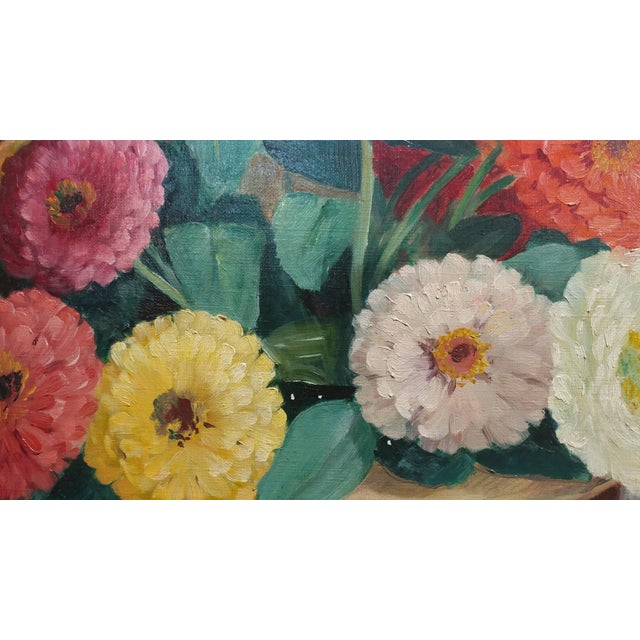 Frode Dann Still Life of Dahlias Oil Painting, 1942 For Sale - Image 5 of 10