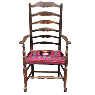 19th C. English Suzani Arm Chair For Sale