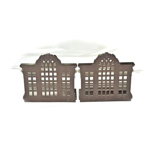 Bradley Hubbard 1920s Antique Bradley & Hubbard Trellis Bookends - a Pair For Sale - Image 4 of 11
