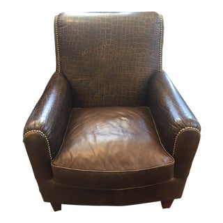Crocodile Embossed Leather Club Chair