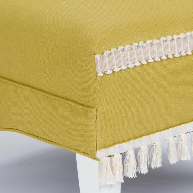 Yellow Casa Cosima Sintra Chair in Citron Linen For Sale - Image 8 of 9