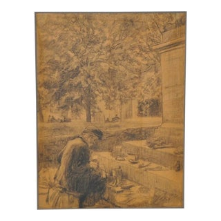 Impressionist Graphite on Paper after Van Gogh c.1930 For Sale