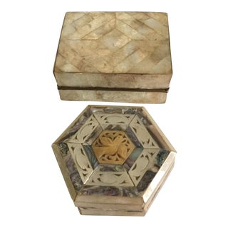 Mother-of-Pearl & Capiz Inlaid Boxes - A Pair For Sale