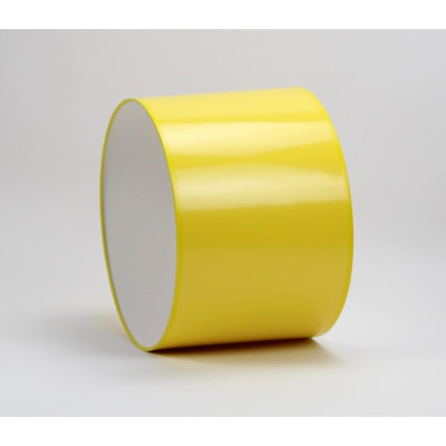 Modern High Gloss Yellow Drum Lamp Shade For Sale - Image 3 of 7