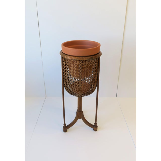 Vintage Wicker Cane Plant Stand For Sale - Image 10 of 13