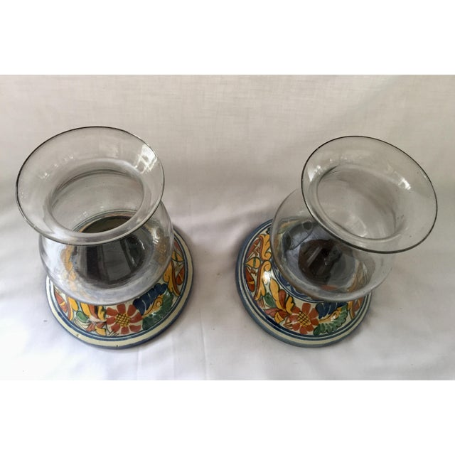 Glass Vintage Talavera Hurricane Candleholders - a Pair For Sale - Image 7 of 10