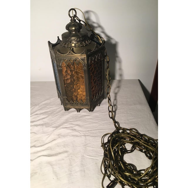Gothic Brass Swag Lamp with Multi Colored Glass - Image 5 of 6
