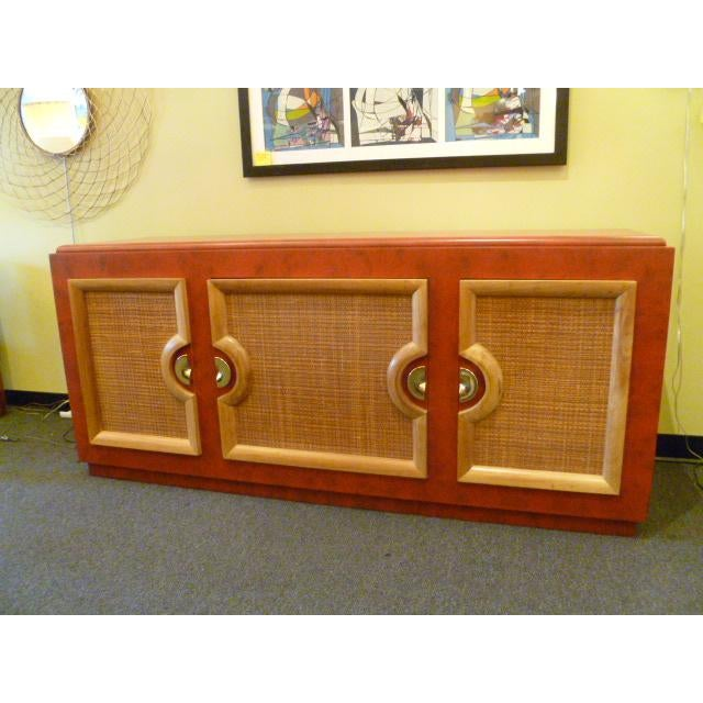 Wicker 1940s Antique Paul Laszlo Style Faux Red Leather Finished Buffet / Breakfront For Sale - Image 7 of 13