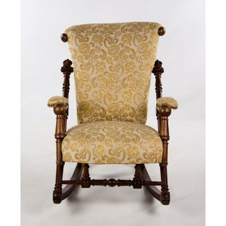 Late 19th Century Victorian Style Floral Upholstered Walnut Rocking Chair Preview