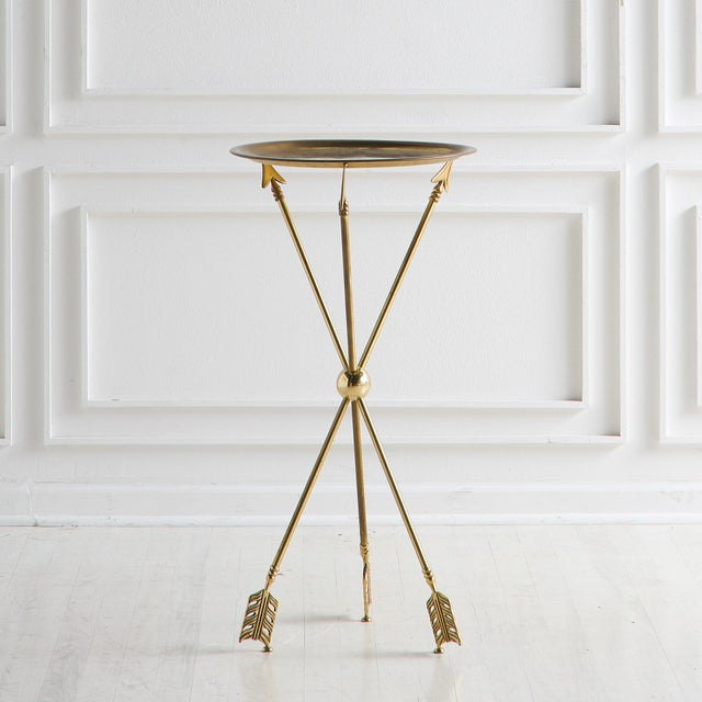 Metal Brass Tripod Table With Arrow Motif Attributed to Maison Jansen For Sale - Image 7 of 7