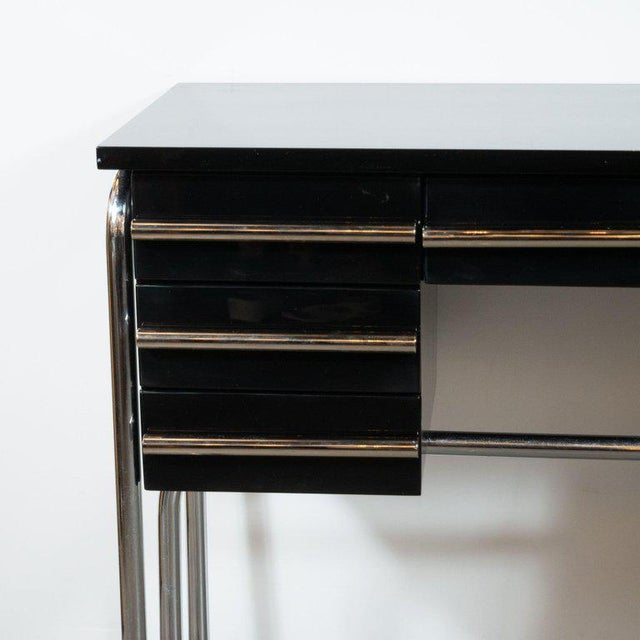 Art Deco Machine Age Chrome & Black Lacquer Writing Desk / Vanity For Sale - Image 4 of 11