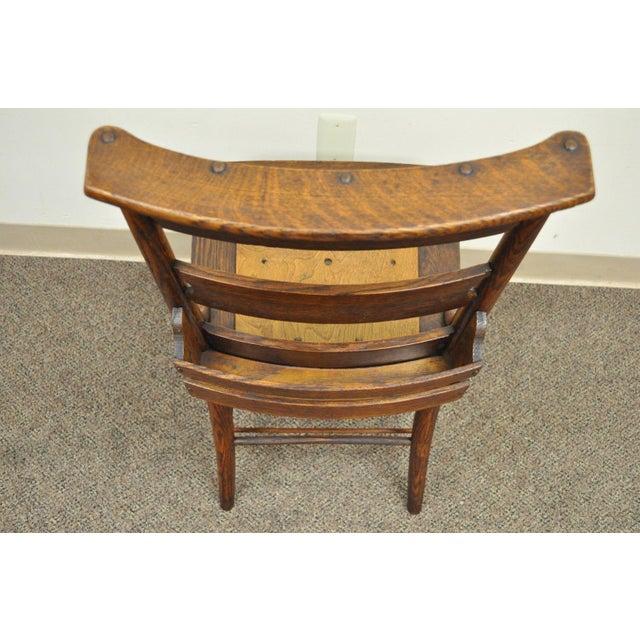 Antique Mission Arts & Crafts Oak Chapel Side Chair Shaker School Student  Desk For Sale - - Antique Mission Arts & Crafts Oak Chapel Side Chair Shaker School