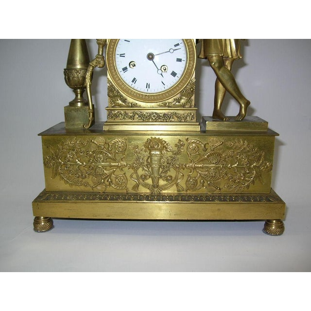 Figurative 19th Century French Charles X Gilt Bronze Dore Figural Mantel Clock For Sale - Image 3 of 11