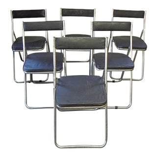 1970s Vintage Chrome and Black Vinyl Folding Chairs- 6 Pieces For Sale