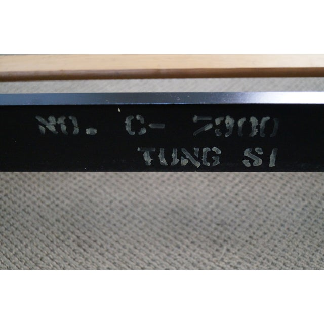 Black Tung Si Collection Ebonized Black & Teak Full Bed For Sale - Image 8 of 10