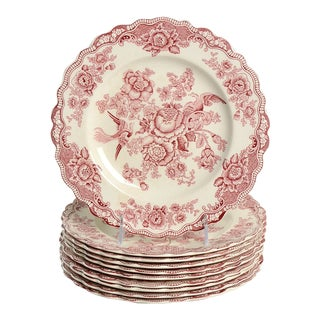 Crown Ducal Bristol Pink Dinner Plate - Set of 10 For Sale