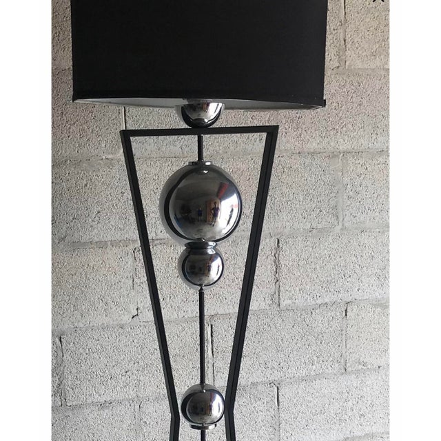 Art Deco Art Deco Style Chrome and Black Floor Lamp For Sale - Image 3 of 5