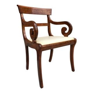 Mid-Century Modern Klismos Style Scrolled Arm Chair For Sale
