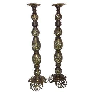"20th Century Hollywood Regency Brass Filigree 36"" Tall Candle Holders - a Pair For Sale"