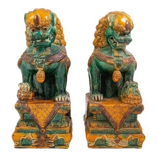 Large Chinese Sancai Glazed Foo Lions - a Pair For Sale