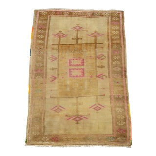 Small Oushak Rug Hand Knotted Bath Mat, Petite Kitchen Rug Mat - 2′1″ × 3′ For Sale