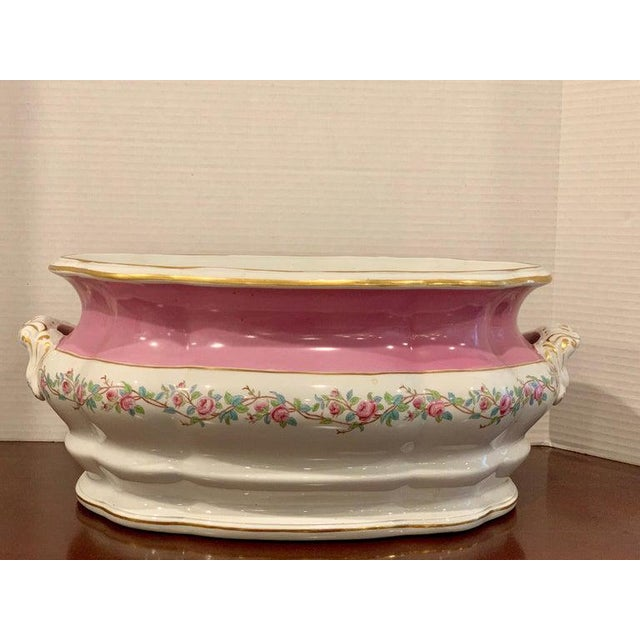 19th Century Pink Floral Porcelain Foot Bath, Attributed to Mintons For Sale - Image 10 of 12