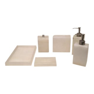 White Onyx Bath Accessories - Set of 6