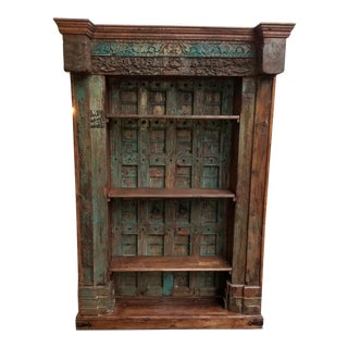 19th Century Asian Antique Recessed Door Bookcase For Sale