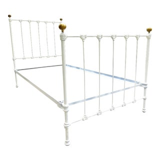 19th Century French Victorian White Solid Iron & Brass Twin Bed Frame