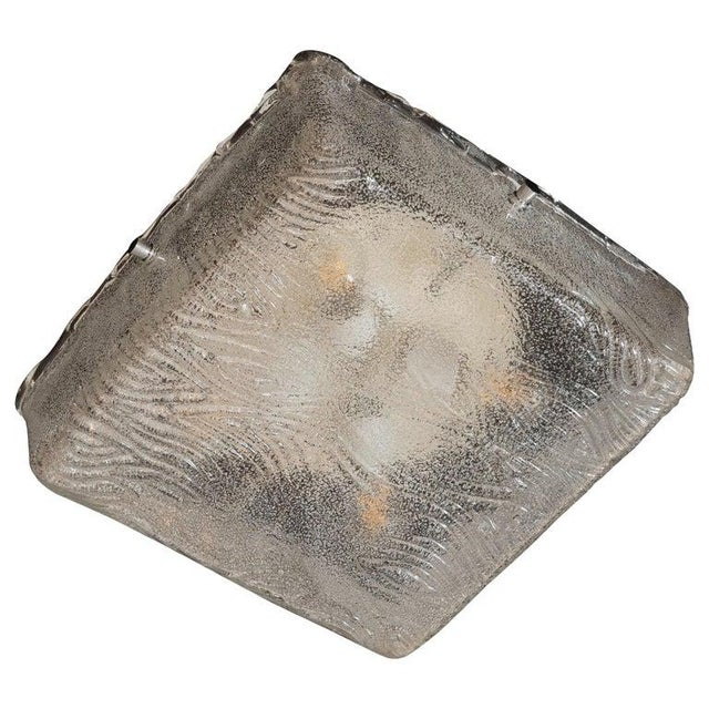 Mid-Century Modern Textured Glass Square Flush Mount With Chrome Fittings For Sale In New York - Image 6 of 6