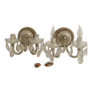 Vintage 1980s Hungarian Crystal Wall Sconces - a Pair For Sale