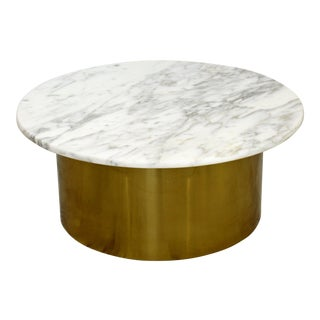 Mid Century Modern Silas Seandel Attr. Carrera Marble & Brass Coffee Table 1960s