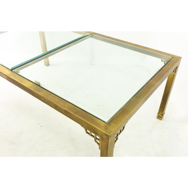 Mastercraft Mastercraft Mid Century Solid Brass and Glass Expanding Dining Table For Sale - Image 4 of 13