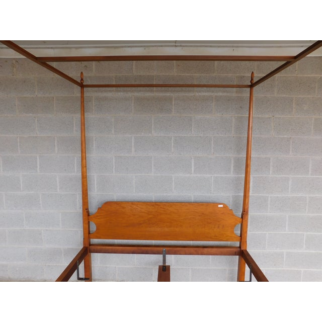 Cinnamon Eldred Wheeler Shaker Style Tiger Maple Queen Size Tester Poster Bed For Sale - Image 8 of 13