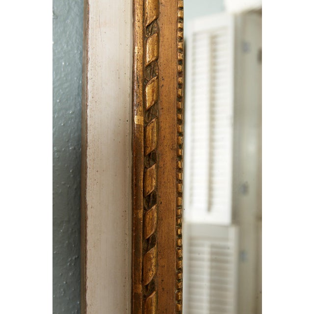 Wood French Louis XVI Trumeau Mirror in Gray and Gilt For Sale - Image 7 of 8