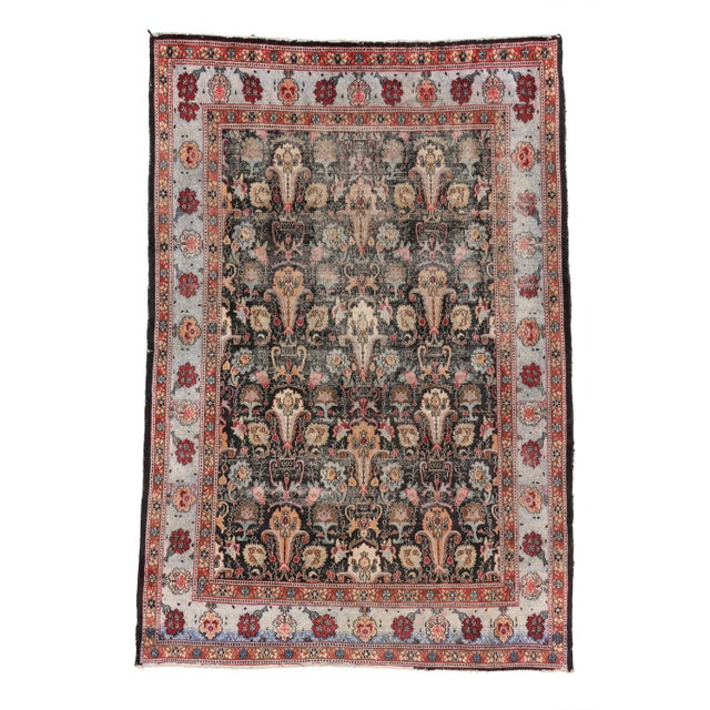 Distressed Antique Persian Khorassan Rug with Mid-Century Modern Style For Sale - Image 5 of 7