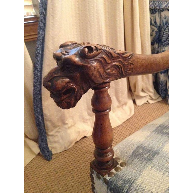 Walnut French Armchair in Brunschwig Fabric For Sale In Savannah - Image 6 of 8