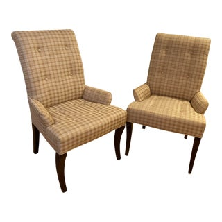 Vintage Ethan Allen Silk Upholstered Chairs - a Pair For Sale