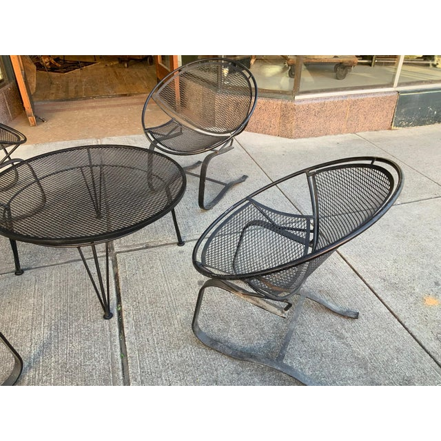 Mid-Century Modern Salterini Radar Lounge Chairs and Coffee Table Patio Set For Sale - Image 3 of 6