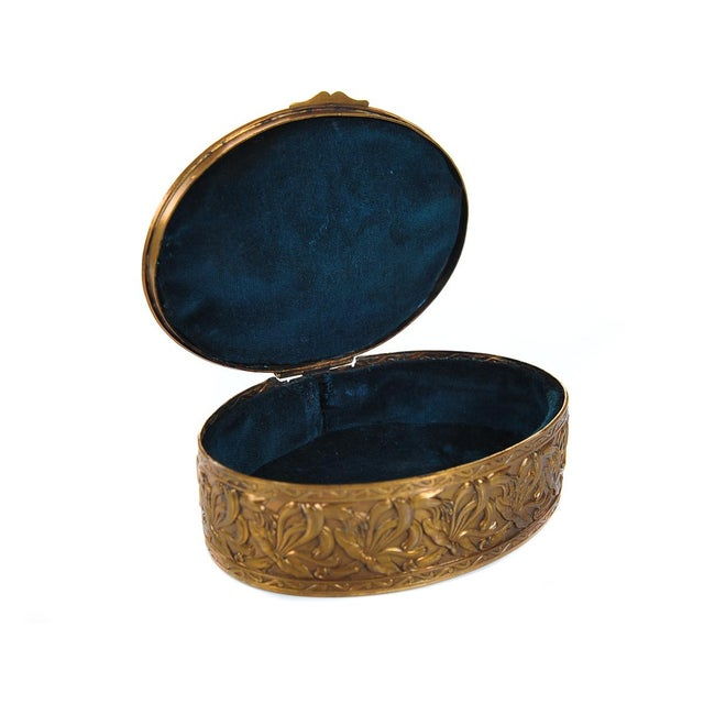 """Gold 19th C. Bronze & Enamel 5"""" Oval Jewelry Box For Sale - Image 8 of 9"""