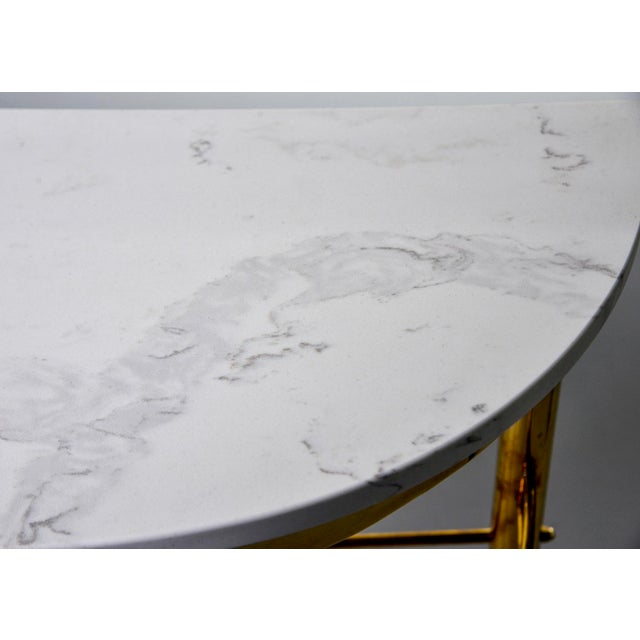 Mid-Century Italian White Marble Top Console With Brass Base For Sale - Image 9 of 11