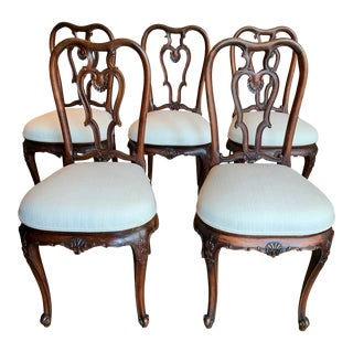 18th Century George II Style Carved Dining Chairs - Set of 5 For Sale