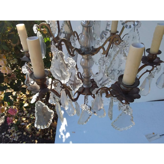 Bronze French Bronze and Crystal Cage Style Chandelier For Sale - Image 8 of 13
